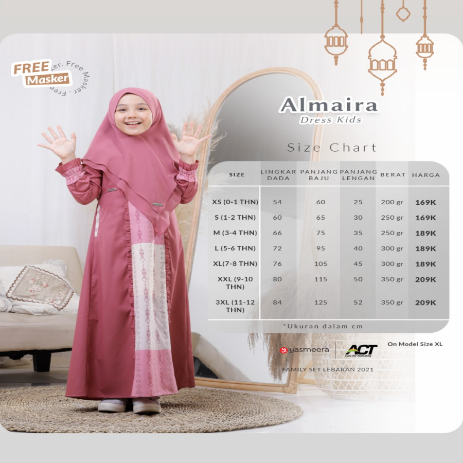 ALMAIRA DRESS KIDS XS-S (FAMILY SET SERIES 2021)